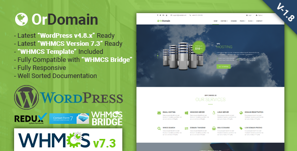OrDomain | Responsive WHMCS Hosting WordPress Theme - Hosting Technology