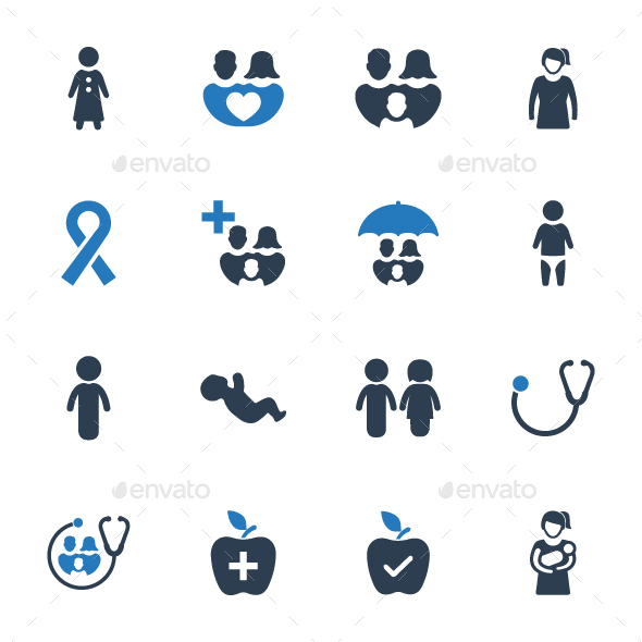 Family Healthcare Icon Set - Blue Version - Web Icons