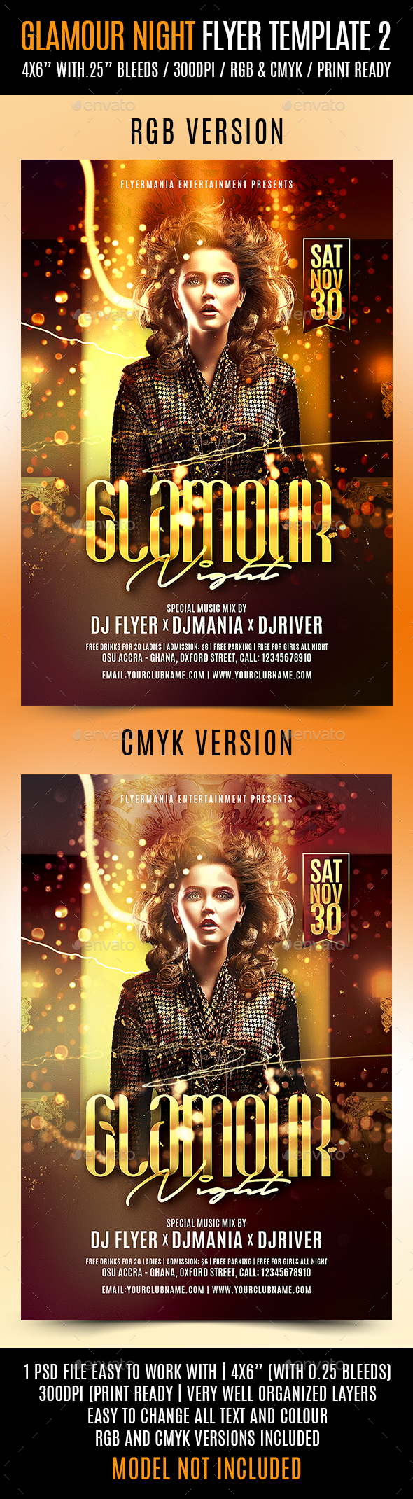 Glamour Night Flyer Template 2 - Clubs & Parties Events