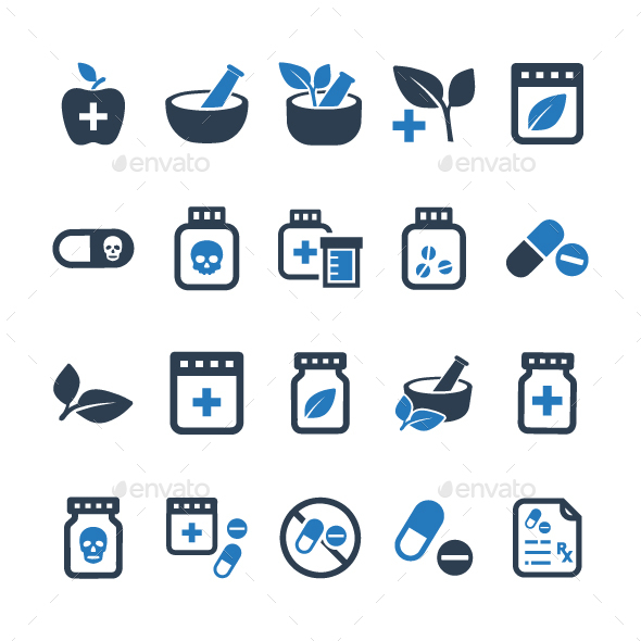 GraphicRiver Medication Icons Blue Version 20818139