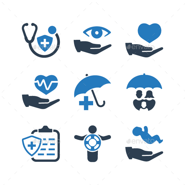 Health Insurance Icons - Blue Version - Web Icons