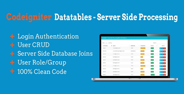 CodeCanyon Codeigniter Datatables Server-side Processing 20818280