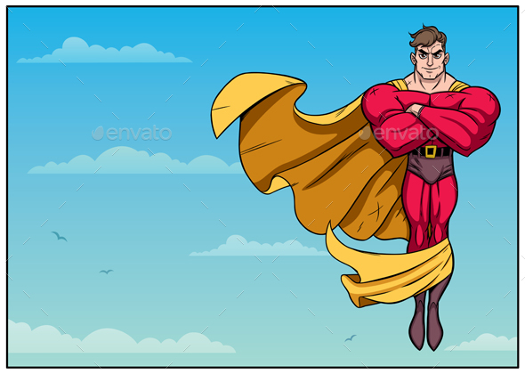 Superhero Flying in Sky Horizontal - Miscellaneous Characters