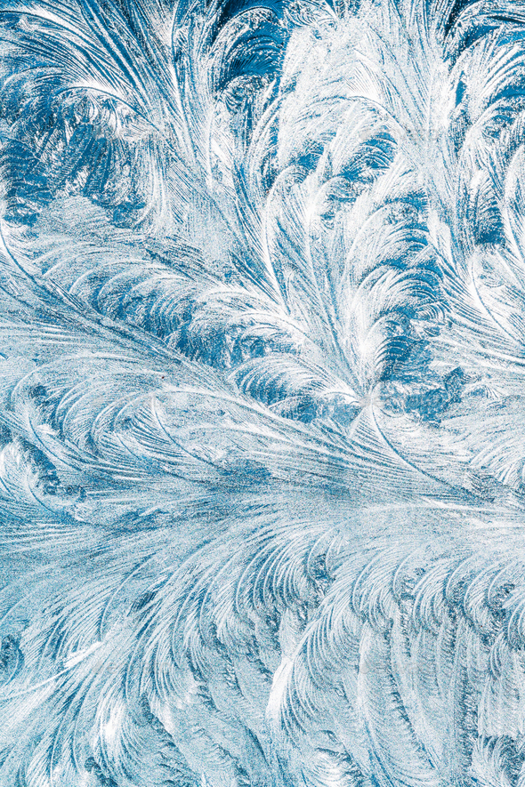 Blue Frosty Glass Ice Background, Natural Beautiful Snowflakes F - Stock Photo - Images