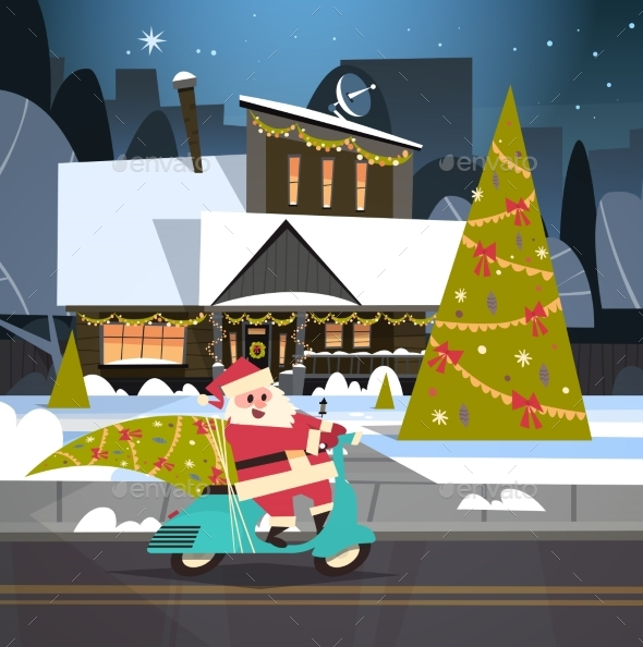 Santa Driving Scooter With Pine Tree, Merry - Seasons/Holidays Conceptual