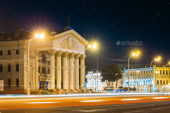Gomel, Belarus. Traffic And Light Trails Near Building Of Gomel - Stock Photo - Images