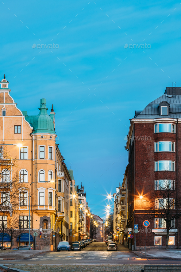 Helsinki, Finland. Residential House Building At Intersection Of - Stock Photo - Images