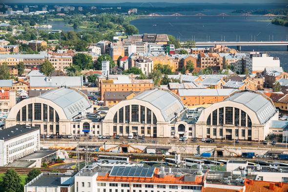 Riga, Latvia. Aerial Cityscape In Sunny Evening. Famous Landmark - Stock Photo - Images