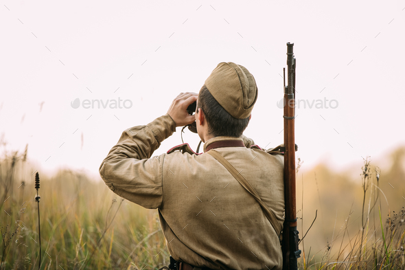 Man Dressed As Russian Soviet Red Army Infantry Soldier Of World - Stock Photo - Images