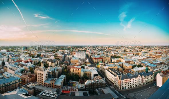 Riga, Latvia. Riga Panorama Cityscape. Top Aerial View Of Baznic - Stock Photo - Images