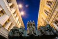 Vilnius Lithuania. Close Three Muses Sculpture Of Lithuanian Nat