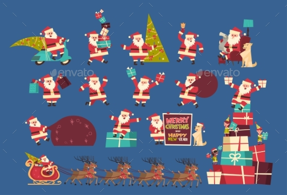 Set Of Santa Claus With Presents Merry Christmas - Seasons/Holidays Conceptual