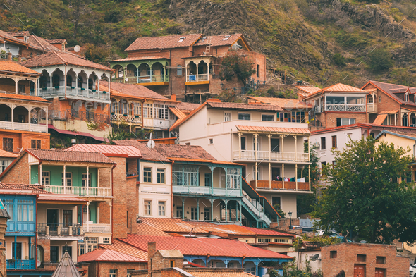 Tbilisi, Georgia. Residential District Of Old Town - Stock Photo - Images