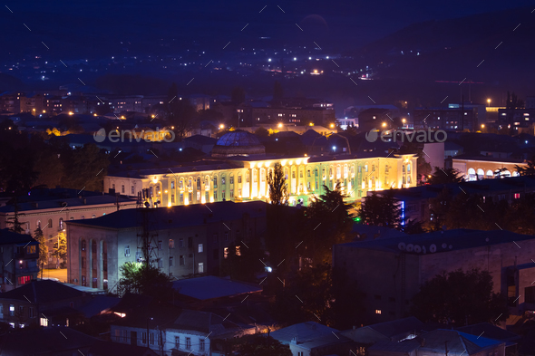 Gori, Shida Kartli Region, Georgia. Cityscape With City Hall On - Stock Photo - Images