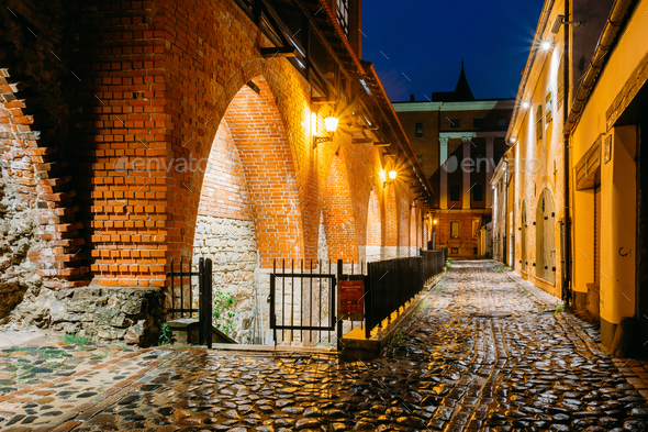 Riga, Latvia. Part Of Old The City Wall In Torna Street In Light - Stock Photo - Images