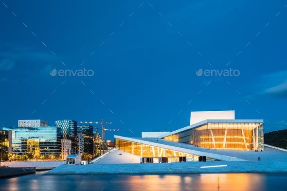 Oslo Norway. Evening View Of Illuminated Opera Ballet House Amon - Stock Photo - Images