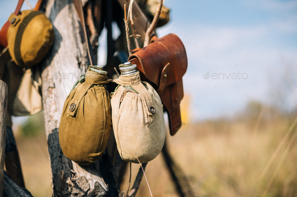Russian Soviet Red Army Soldier's Military Equipment Of World Wa - Stock Photo - Images