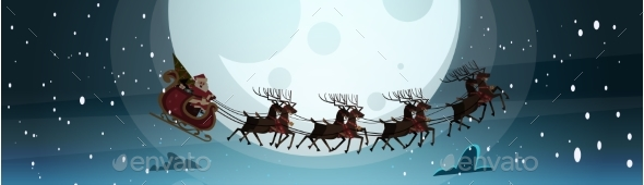 Santa Flying In Sledge With Reindeers In Night Sky - Seasons/Holidays Conceptual