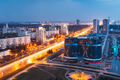 Minsk, Belarus. Aerial Cityscape In Bright Blue Hour Evening And - PhotoDune Item for Sale