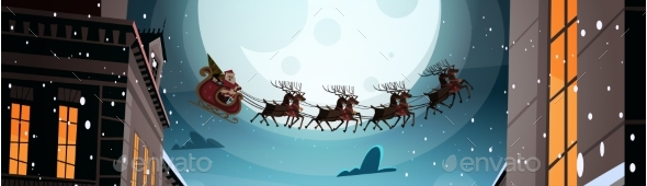 Santa Flying In Sleigh With Reindeers In Night Sky - Christmas Seasons/Holidays