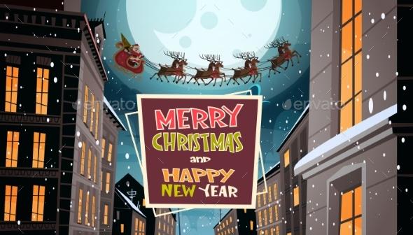 Santa Flying In Sleigh With Reindeers In Night Sky - Seasons/Holidays Conceptual