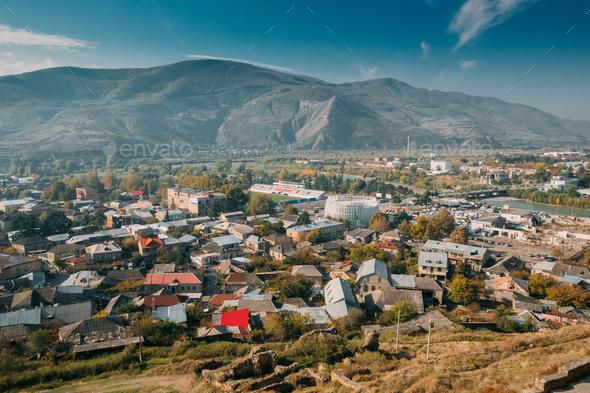 Gori, Shida Kartli Region, Georgia. Cityscape, Walls Of Gori For - Stock Photo - Images