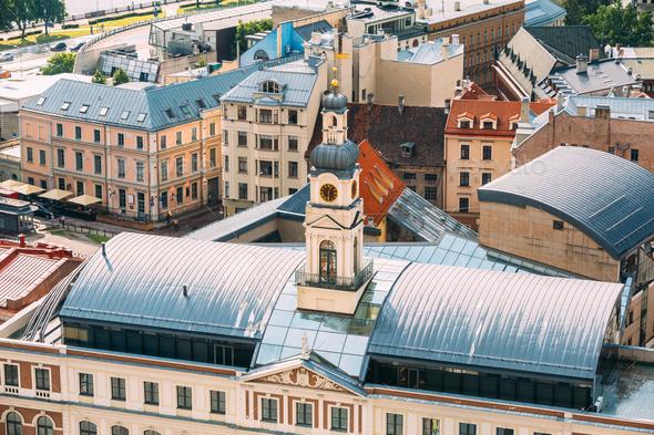 Riga, Latvia. Top View Of Famous Landmark - Riga City Hall In Su - Stock Photo - Images