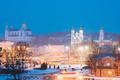 Vitebsk, Belarus. Evening Night View Cityscape With Famous Landm