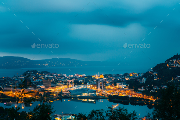 Bergen, Norway. Panoramic View Cityscape Of Bergen And Harbor Fr - Stock Photo - Images