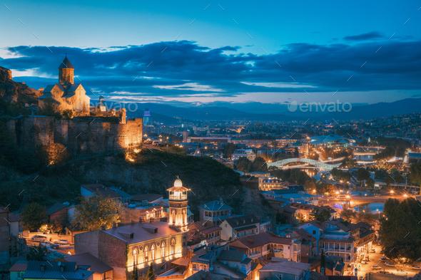Tbilisi, Georgia. Narikala Ancient Fortress And St. Nicholas' Ch - Stock Photo - Images