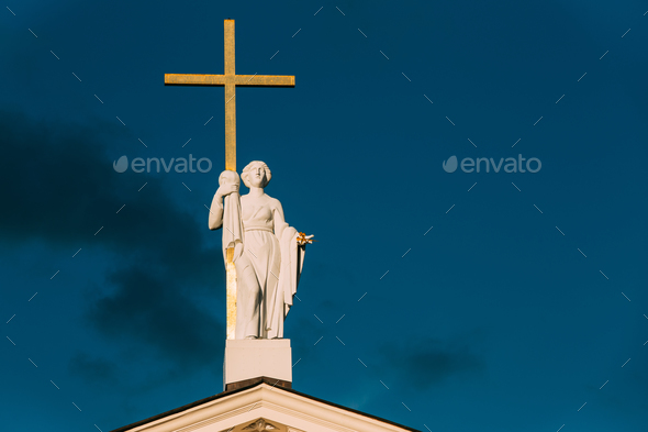 Vilnius, Lithuania. Close View Of Statue Of St. Helena With Cros - Stock Photo - Images