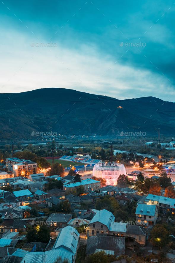 Gori, Shida Kartli Region, Georgia. Cityscape In Bright Yellow E - Stock Photo - Images