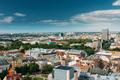 Riga, Latvia. Riga Cityscape In Sunny Summer Day. Top View Of Fa