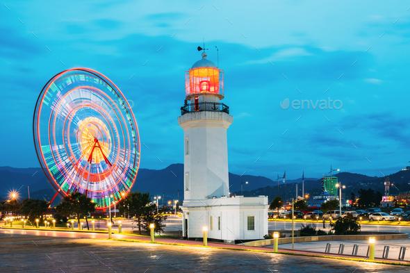 Batumi, Adjara, Georgia. Ferris Wheel In Motion And Pitsunda Lig - Stock Photo - Images