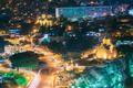 Tbilisi, Georgia. Night Evening Illuminated View Of Metekhi Chur