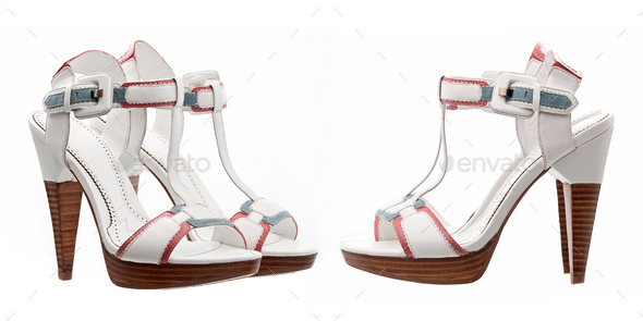 Summer women shoes over white, side and three quarters views - Stock Photo - Images