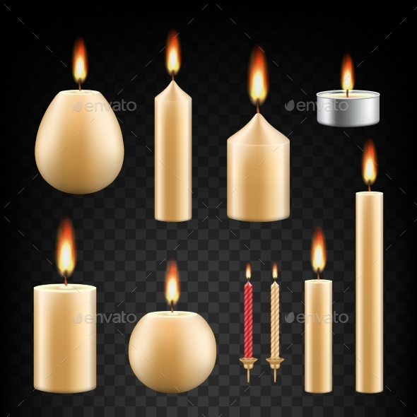 GraphicRiver Vector Realistic Burning Candle Icon Set 20819180