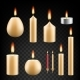 Vector Realistic Burning Candle Icon Set