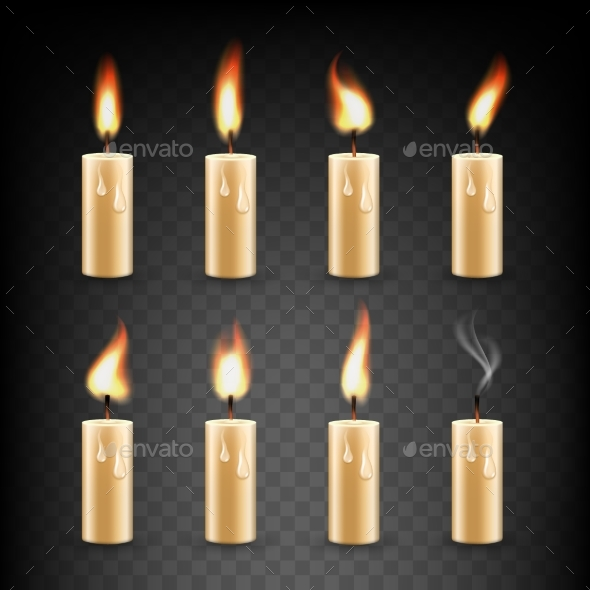 GraphicRiver Vector Realistic Candle with Fire Animation Icon 20819195