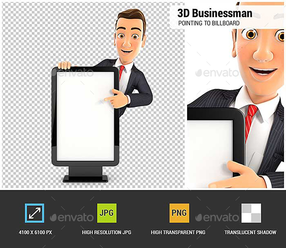 GraphicRiver 3D Businessman Pointing to Blank Billboard 20819196