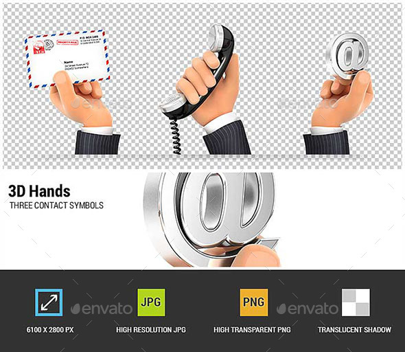 GraphicRiver 3D Hands Holding Three Contact Symbols 20819212