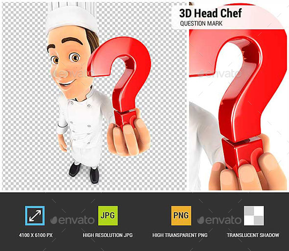 GraphicRiver 3D Head Chef Holding a Question Mark Icon 20819223