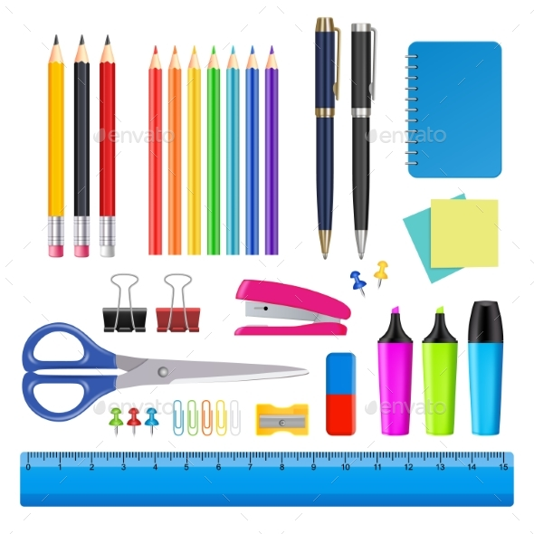 Vector School and Office Supplies Icon Set - Miscellaneous Vectors