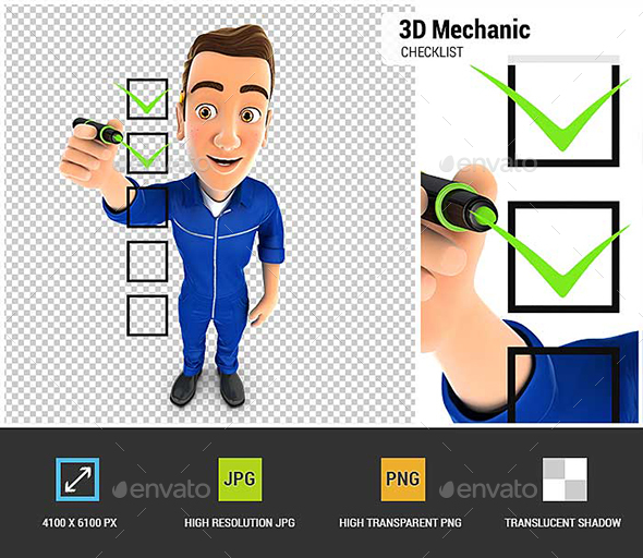 3D Mechanic Checklist - Characters 3D Renders