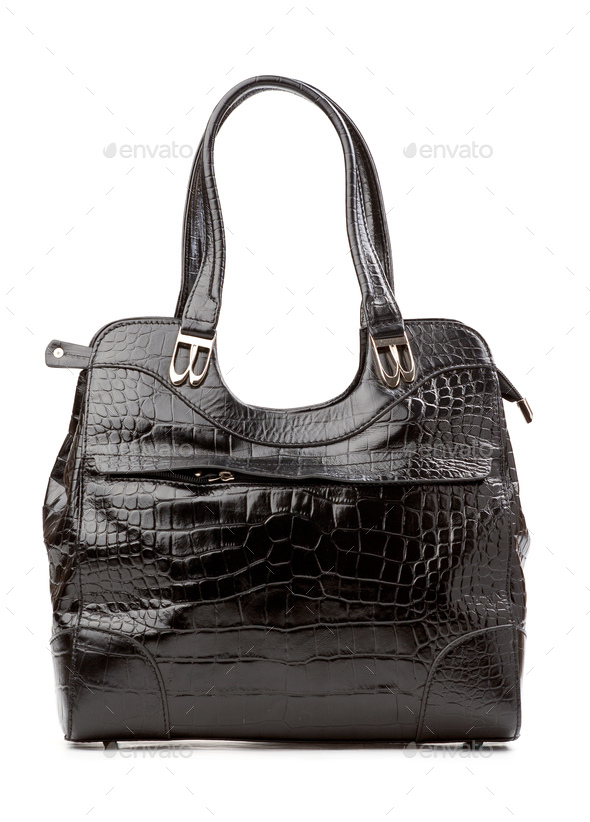 Black female bag over isolated over white - Stock Photo - Images