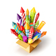 bright colorful fireworks rockets in a box. - PhotoDune Item for Sale