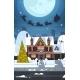 Santa Flying In Sledge With Reindeers In Sky Over