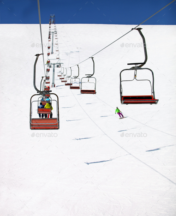 Ski Lift to the Top of the Mountain - Stock Photo - Images