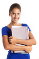 Portrait of a young beautiful girl holding files