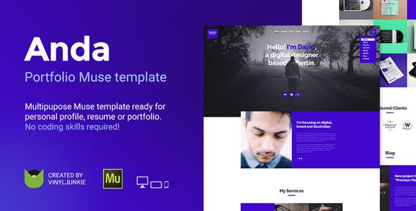 Anda - Creative Multipurpose Portfolio Muse Template - Creative Muse Templates